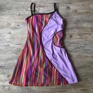NIKE | DRI-FIT ATHLETIC STRIPED DRESS PURPLE TANK